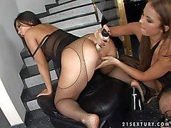 Aphrodisiac asian Bailey with erogenous apologize there in fishnet pantyhose