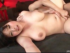 Curvy Japanese maid bounces on his hard cock